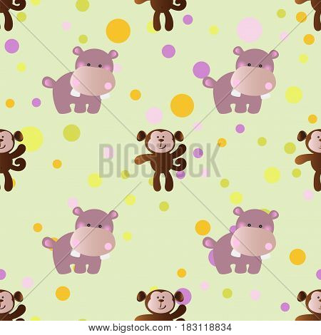 seamless pattern with cartoon cute toy baby behemoth monkey and Circles on a light green background