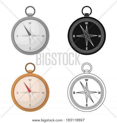 Compass icon in cartoon style isolated on white background. Pirates symbol vector illustration.