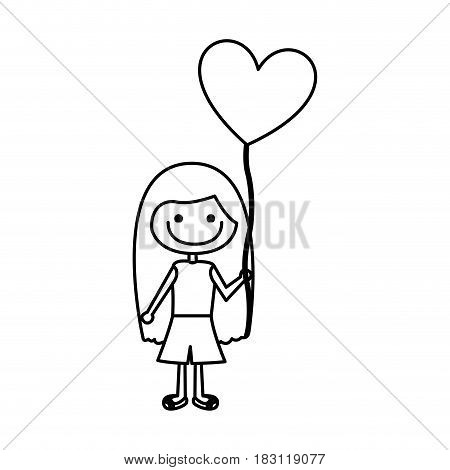monochrome contour of caricature of smiling girl with t-shirt and short pants and balloon in shape of heart vector illustration