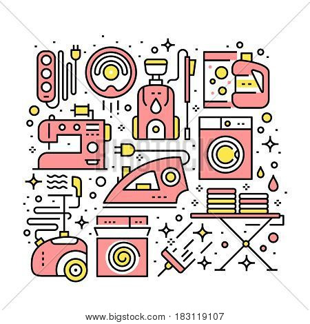 Collage of electronic devices, facilities, household appliances for home, housework and cleanup. Modern thin line art icons. Linear style illustrations isolated on white.