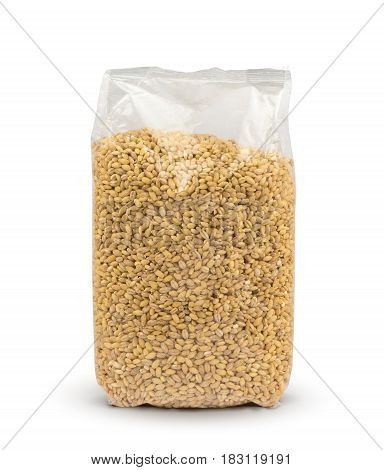 Plastic package of pearl barley isolated on white background with clipping path. Mockup. Package.