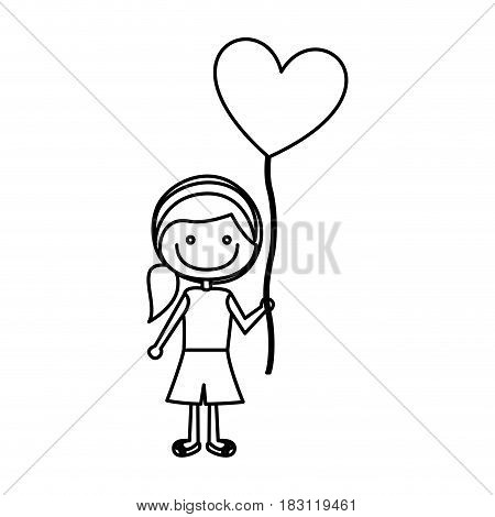 monochrome contour of caricature of smiling girl with short pants and ponytail hair and balloon in shape of heart vector illustration