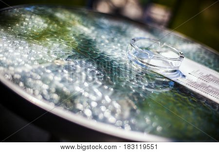 Glass Ashtray And Table