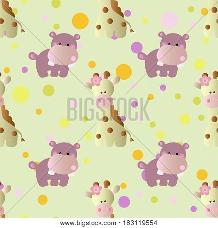 seamless pattern with cartoon cute toy baby behemoth giraffe and Circles on a light green background
