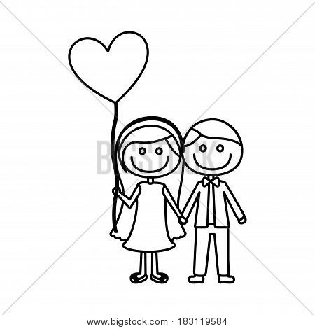monochrome contour of caricature of couple him in formal suit and her in dress with balloon in shape of heart vector illustration
