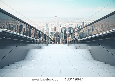 Concrete stairs with railing on city background. Success concept. 3D Rendering