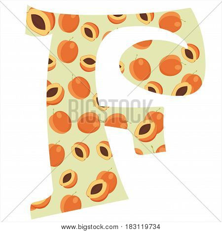 Fruity alphabet. Funny learning. Apricot letter F