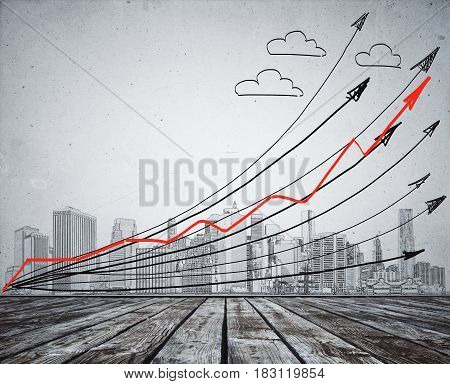 Creative pencil drawn city clouds and upward arrows. Creativity background. Success concept