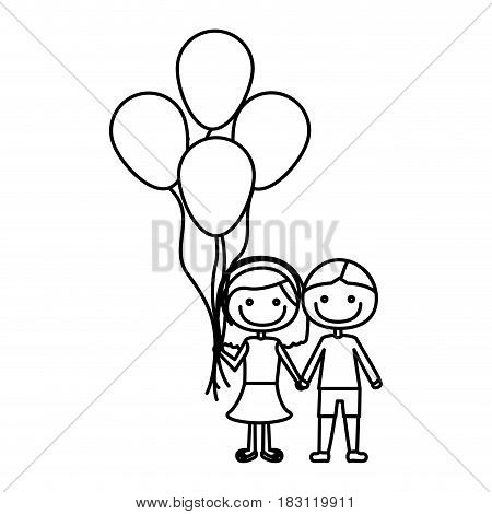 monochrome contour of caricature of couple in suit informal with many balloons vector illustration