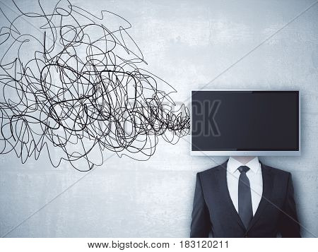 TV screen headed businessman on concrete background with scribble. Mock up
