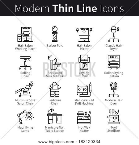 Beauty salon collection. Tools, supplies and equipment for hairdo, makeup and manicure. Thin black line art icons. Linear style illustrations isolated on white.