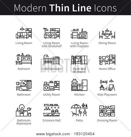 Furniture, appliances and home furnishings set. Interior design ideas or projects. thin black line art icons. Linear style illustrations isolated on white.