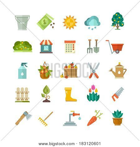 Garden tools, gardening equipment flat vector icons. Shovel and rake for garden, illustration of farm, garden with tree