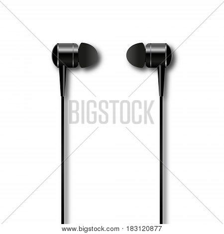 vacuum headphones isolated on white background. Vector illustration.
