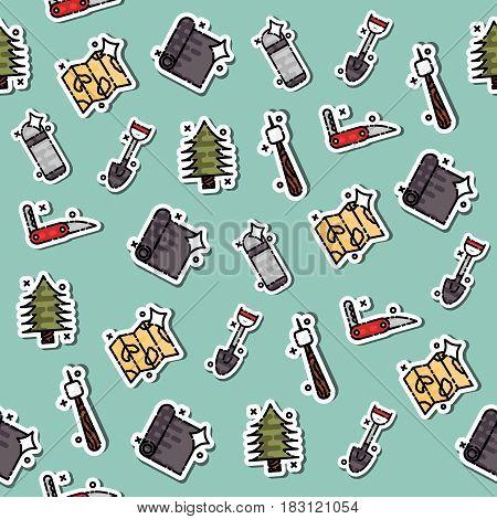 Boy scouts concept icons pattern. Adventure exploration Travel Concept