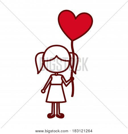 red silhouette of caricature faceless girl in dress with balloon in shape of heart vector illustration