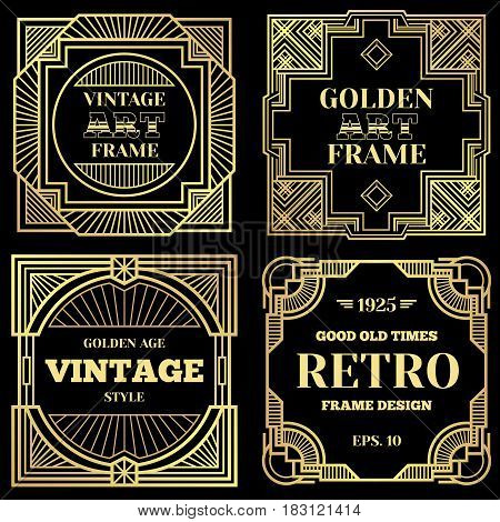 Luxury poster vector design with gold frames in art deco old classic style. Golden banner frame victorian, illustration of vintage art frame