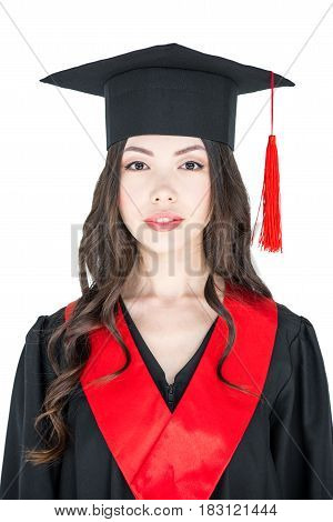 Beautiful Young Brunette Woman In Mortarboard Smiling At Looking At Camera