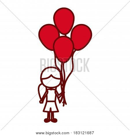 red silhouette of caricature faceless girl with short pants and pigtails hairstyle and many balloons vector illustration