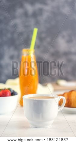 Coffee, Croissant And Orange Juice. Breakfast On White Background