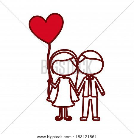 red silhouette of caricature faceless couple and him in formal suit and her in dress with balloon in shape of heart vector illustration