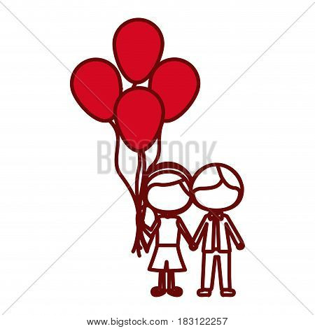 red silhouette of caricature faceless couple of boy short hair and girl with side hairstyle with many balloons vector illustration