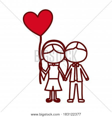 red silhouette of caricature faceless couple of boy short hair and girl with pigtails hair with balloon in shape of heart vector illustration