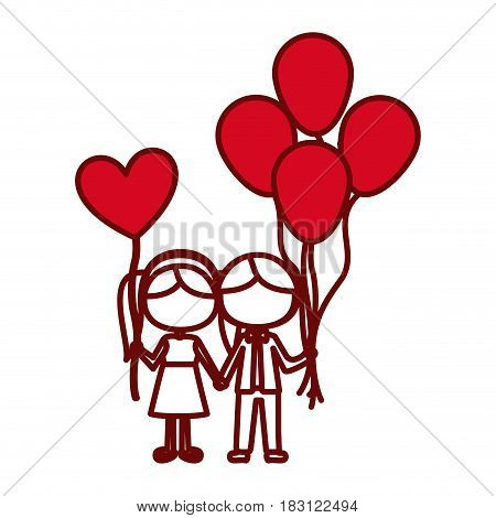 red silhouette of caricature faceless couple of boy with many balloons and her with balloon in shape of heart vector illustration