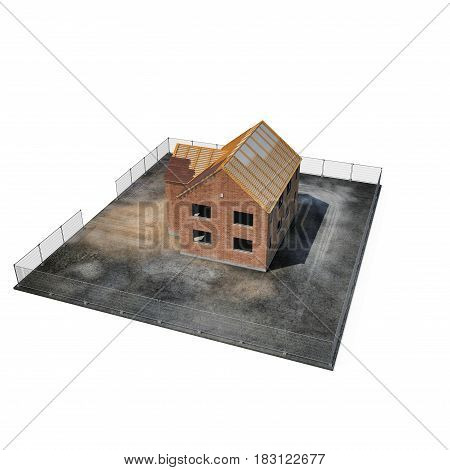 Private House Construction on white background. Angle from up. 3D illustration