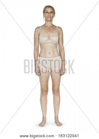 Caucasian Blonde Female Model On White Background