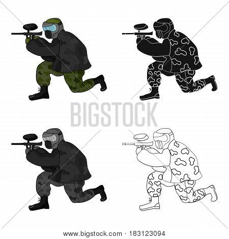 Paintball player icon in cartoon design isolated on white background. Paintball symbol stock vector illustration.