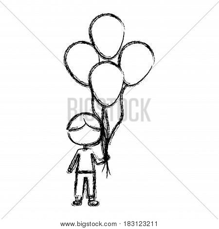 monochrome sketch of caricature faceless kid with t-shirt and pants with many balloons vector illustration