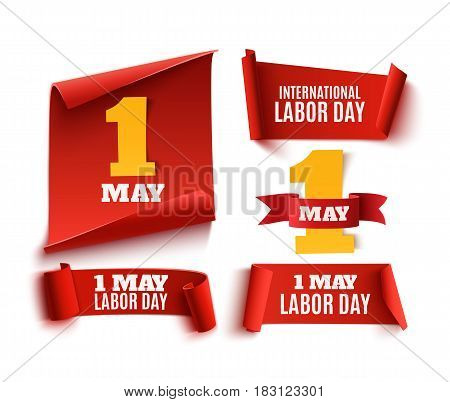 Set of five red, realistic, 1 may labor day paper banners. Vector illustration.