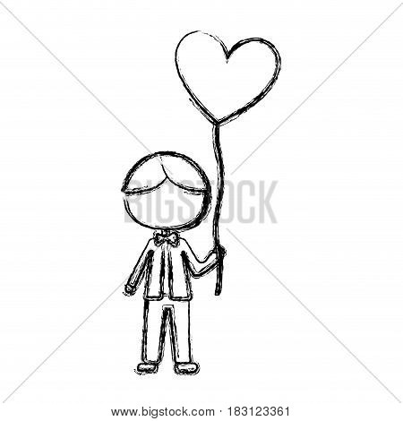 monochrome sketch of caricature faceless kid with bow tie and balloon in shape of heart vector illustration