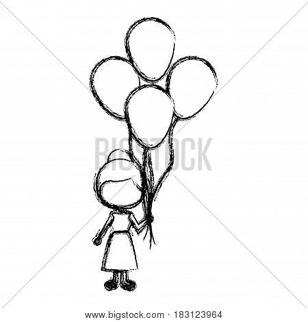 monochrome sketch of caricature faceless girl with dress and many balloons vector illustration