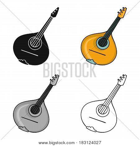 Italian mandolin icon in cartoon style isolated on white background. Italy country symbol vector illustration.