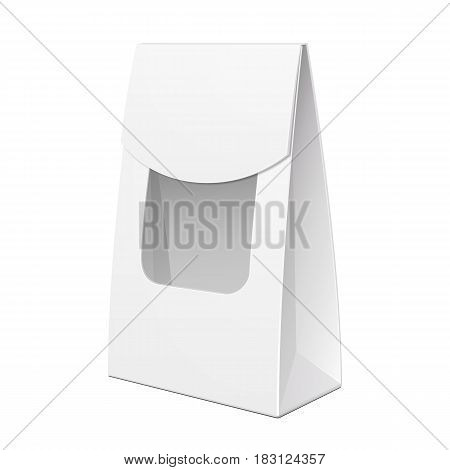 White Cardboard Carry Box Bag Packaging With Window For Food, Gift Or Other Products. Illustration Isolated On White Background. Mock Up Template Ready For Your Design. Product Packing Vector EPS10