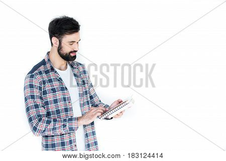 Bearded Student Holding Copybooks Isolated On White Wth Copy Space
