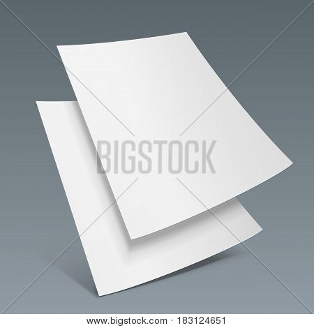Two Blank Paper Leaflet, Flyer, Broadsheet, Flier, Follicle, Leaf A4 With Shadows. On Gray Dark Background Isolated. Mock Up Template Ready For Your Design. Vector EPS10
