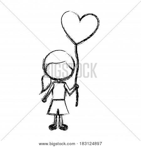 monochrome sketch of caricature faceless girl with short pants and ponytail hair and balloon in shape of heart vector illustration