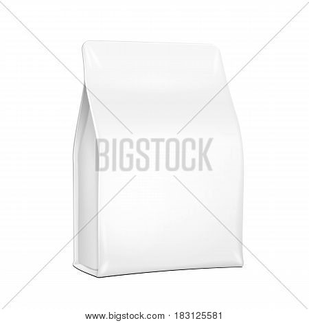 White Plastic, Foil Paper Food Bag Package Of Coffee, Spices Or Flour. Grayscale. Illustration Isolated On White Background. Mock Up Template Ready For Your Design. Product Packing Vector EPS10