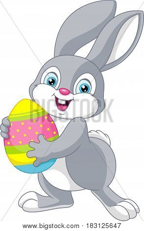 Easter bunny holding an egg, EPS 8