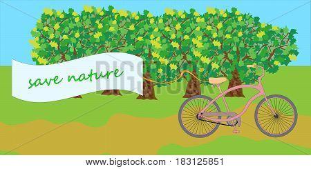 bike ride in nature. Vector illustration. Eps 10