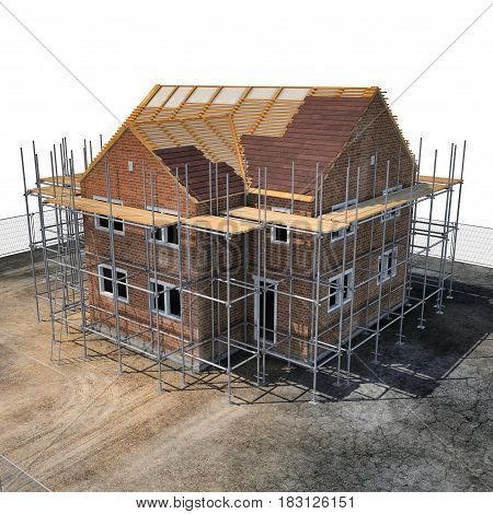 construction of private houses of brick on white background. Angle from up. 3D illustration