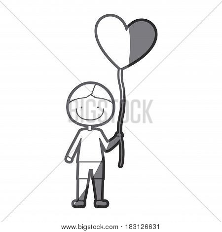 grayscale silhouette of caricature smiling kid with t-shirt and short pants with balloon in shape of heart vector illustration