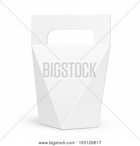 White Cardboard Carry Box Bag Packaging For Food, Gift Or Other Products With Handle. Illustration Isolated On White Background. Mock Up Template Ready For Your Design. Product Packing Vector EPS10