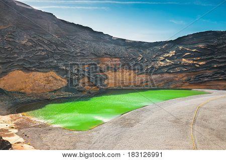 Green Lagoon At El Golfo, Lanzarote Island, Spain