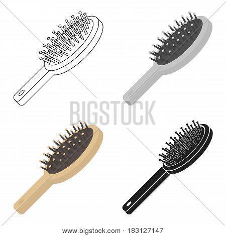Hairbrush icon in cartoon style isolated on white background. Make up symbol vector illustration.