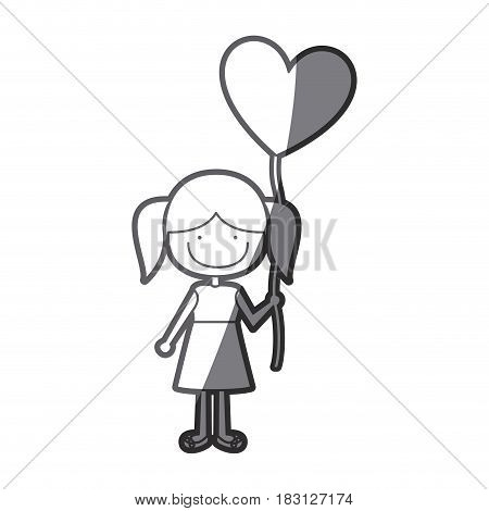 grayscale silhouette of caricature of smiling girl in dress with balloon in shape of heart vector illustration