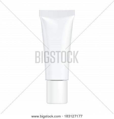 Tube Of Cream Or Gel Grayscale White Clean. Illustration Isolated On White Background. Mock Up Template Ready For Your Design. Vector EPS10